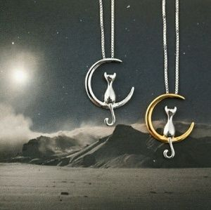 Jewelry - 🆕 Set of 2 Cat in Moon Silver Gold Necklace